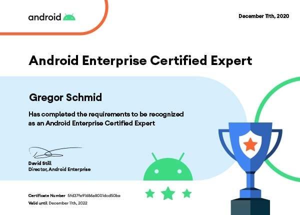 Android Enterprise Certified Expert - Gregor Schmid