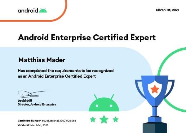Android Enterprise Certified Expert - Matthias Mader