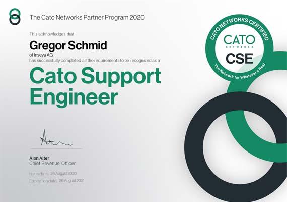 Cato Support Engineer Zertifikat - Gregor Schmid