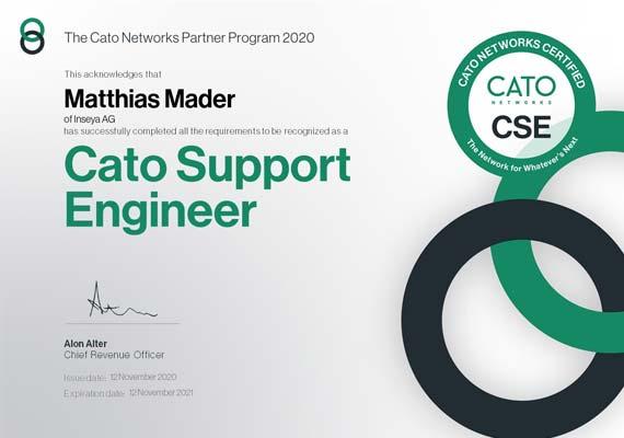 Cato Support Engineer Zertifikat - Matthias Mader