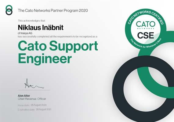 Cato Support Engineer Zertifikat - Niklaus Inäbnit