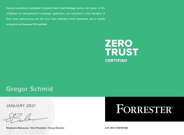 Zero Trust Certified - Zertifikat von Gregor Schmid