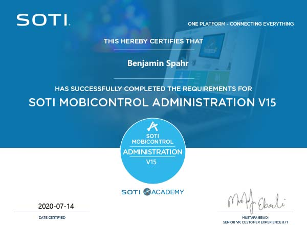 SOTI MobiControl Zertifikat: Administration
