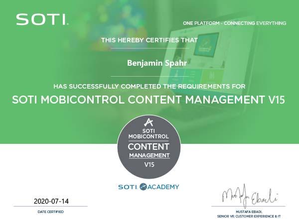 MobiControl Zertifikat: Content Management